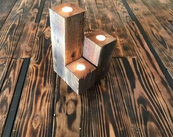 Reclaimed Wood Tiered Tea Light Holder