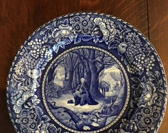 Historic Blue Staffordshire Plate, Washington's Prayer at Valley Forge, British Anchor, England
