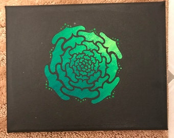 Acrylic Green Abstract Rose