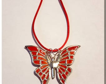 Red and orange Butterfly pendant necklace