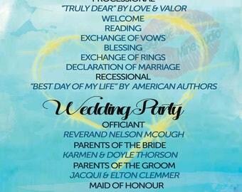 Printable watercolour beach ocean wedding ceremony program wedding invitations suite watercolour invitation set