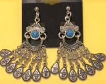 Chandelier Silver Earrings with Turquoise Accents