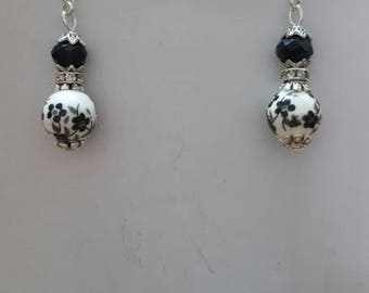 Porcelain and black Swarovski crystal earrings