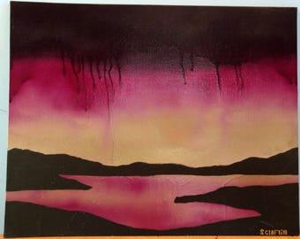Golden Sunset Painting Spray Paint Art
