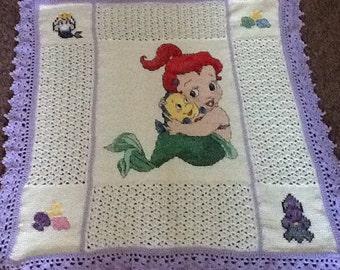 Little Mermaid Inspired Crochet Baby Blanket