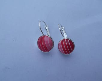 Small Stud Earrings with silver metal hooks and striped pink/red acrylic cabochon