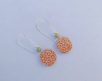 Earrings with large hooks sleepers silver, metal beads and a round sequin enamelled with an abstract orange flowers pattern