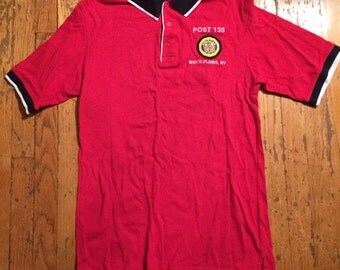 Vintage V.F.W. ringer polo style shirt / red / Veterans of Foreign War / Club / Mens Medium