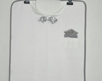 Adult bib with silver grey bowtie for men