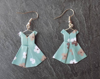 Green floral origami dress earrings