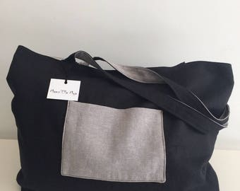 Angie gray and black tote bag