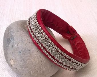 Red leather Sami bracelet and pewter silver wire
