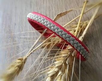 Bracelet red poppy Sami braiding, Sami silver wire
