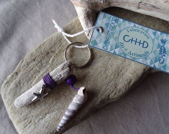Door keys or jewelry bag purple drift wood