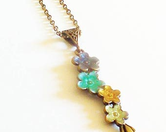 """Dainty long necklace romantic """"cluster of flowers"""""""