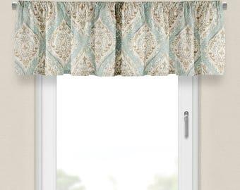 Window Valance Aqua Beige Valance For Bedroom Valance Curtains Window  Treatment Dining Room Valance Kitchen Window