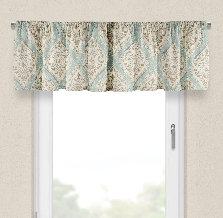 Window valance aqua beige valance for bedroom valance curtains - Beige and white bedroom curtains ...