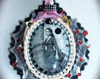 Wilhelmina pendant... Romantic metal Gothic Crystal silk leather trimmings