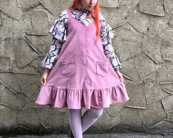 Handmade 'Winnie' Pinafore Dress in Corduroy