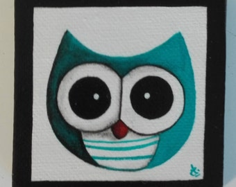 Magnet mini magnetic canvas frame, blue OWL