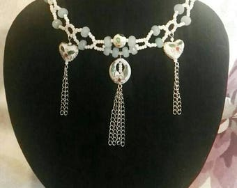 Green Crystal and White Cloisonne Beaded Choker