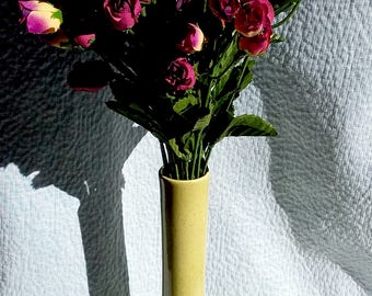 LIME GREEN VASE, With Faux Flower  Bouquet