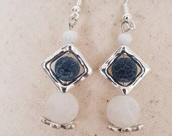 Earrings hook silver bead frame real stones