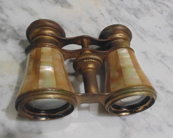 Vintage Brass and Mother of Pearl Opera Glasses