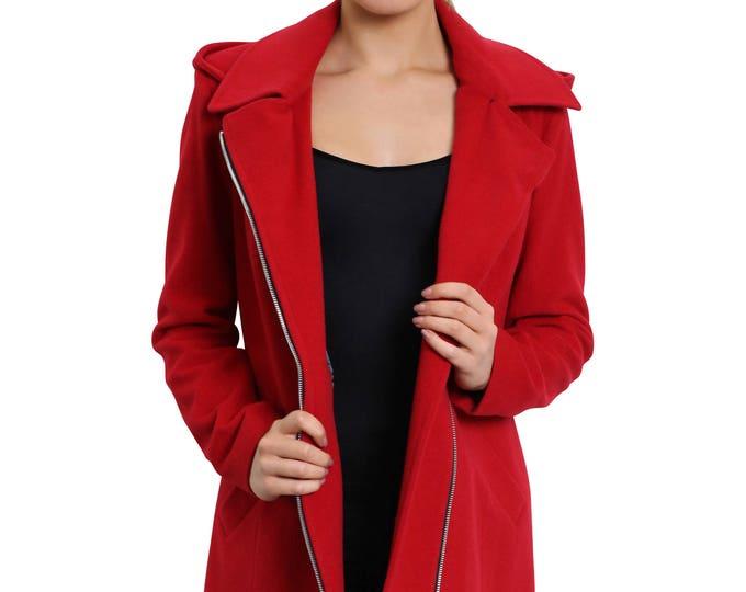Featured listing image: De La Crème - Women's Winter Jacket Ladies Wool Blend Zip Up Hooded Coat [1810]