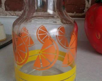 Vintage glass carafe, sun tea, cute and summery orange slice print