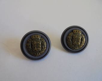 Set of 2 round 18 mm Plastic blue and gold metal buttons