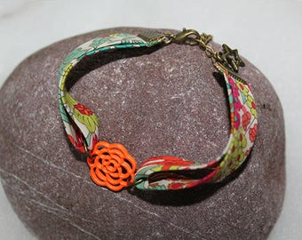Liberty, Frou Frou print bias bracelets with flower filigree connectors
