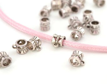 5 pearls pink(Roses) bails silver 4-5mm cord