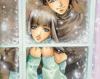 Original manga anime characters lovers couple watercolor painting with airbrush. Characters original watercolor and airbrush manga
