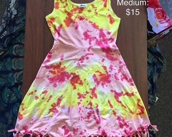 Women's Medium Pink, Yellow, and Red Dress