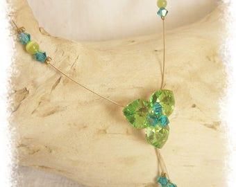 Necklace three green and blue swarovski crystal hearts