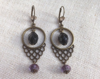 Stud Earrings model Clara, black, amethyst and champagne.