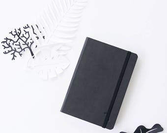 Black Notebook Minimal Grid Journal Notepad Ecoleather Cover EcoFriendly Sketchbook Blank Grid Dot Grid Notebook