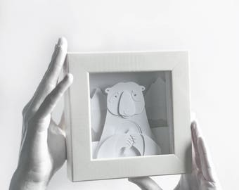 3D Paper Diorama Art Home Decor White Bear Original Paper Shadow Box Hand Made Layered Paper Cut Framed Illustration