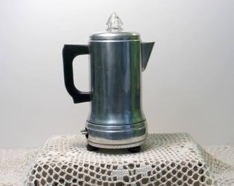 Vintage Empire Mini Electric Coffee Percolator | Aluminum Coffee Pot | Glass Bubble | *No Cord* Missing Cord | Retro Kitchen | Made in USA