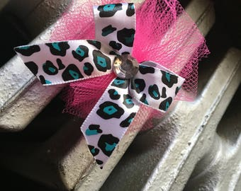 Blue Cheetah Print Bows
