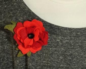 Felt Craft Rose Pin
