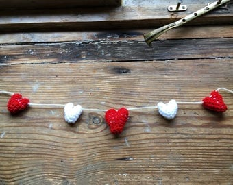 Red and White Hanging Hearts