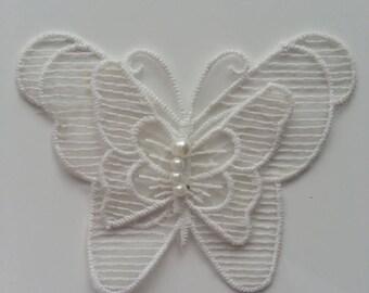 double papillon en dentelle blanc cassé 10*8cm