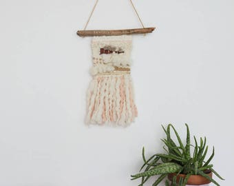 Woven wall hanging - wall decor - beige - cream-Brown-pink-gold-