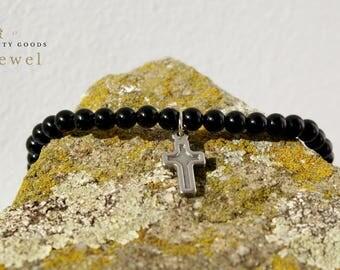 BLACK BRACELET CROSS Beaded Black Bracelet With Cross Beaded Cross Bracelet Men's Religious Bracelets Black Beaded Cross Bracelet Mens Cross
