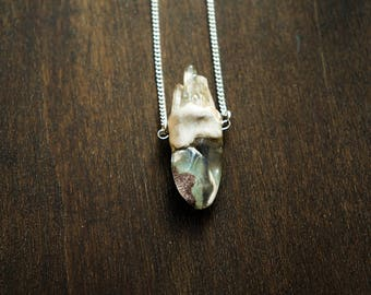 phantom quartz , crystal necklace , healing stone  , gypsy necklace , wiccan necklace , talisman necklace