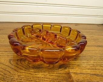 Amber Glass Ash Tray