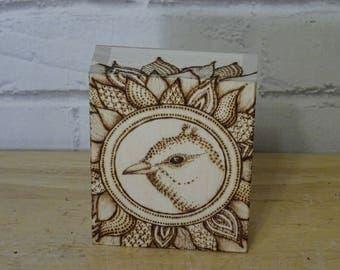 gift box woodburned decoration