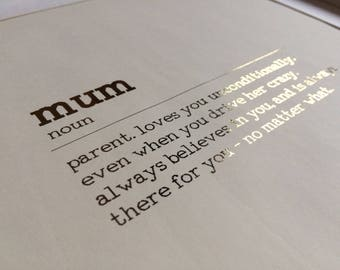 Mum definition print, mother definition print, Mum foil print, wall art, gift for Mum, gift for mother, Mother's Day gift, present for Mum